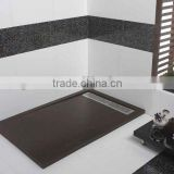 Exporting to spain flat style black artificial stone resin shower tray factory in foshan