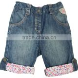 Kids fashion design lovely jeans 3/4 pants girls sweat jeans 1/2 pants with floral printing lining