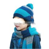 Latest fashion 3color choice Korean style acrylic children autumn and winter wear kids set for scarf with hat