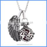 Women Rhinestone Pave Angel Wing Vintage Flower Pattern Hollow Cage Chime Box Pendant Maternity Pregnant Necklaces BAC-M064