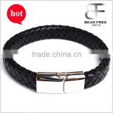 Christmas Gift Big Promotion Men's Women's Personalised Black Leather Braided Bracelet Free Engraving