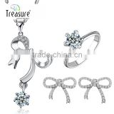 Unique jewelry bowknot zircon water drop pendant ring earrings and necklace jewelry set for bride