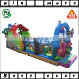 new design gardern kids obstacle course equipment, outdoor inflatable safari park theme activity game for children