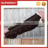 C6117 2014 Fashion Dark Brown Buttons Down Cotton Open Knitted Girls Leg Warmers with White Lace