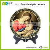 Religious Catholic Christian blessed Virgin Mary and baby Jesus plate activated carbon carving craft