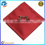 Hot-Sale Classical Men Polyester Handkerchief and Cuff-Link Set