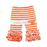 Wholesale 2016 hot sale baby legging girls icing capris orange strip triple icing ruffle capris pant