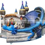 High quality with cheap price 6M*8M*6M dragon inflatable bouncer with slide,inflatable castle, bounce house