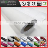 High quality 1.52*30M Air Bubble Free Car Wrap Sticker 3D Gloss White Carbon Fiber Vinyl