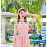 2016 sweet for girl's one piece Bud silk flowers Skirt to show thin type swimsuit covered her belly