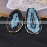 Black & Blue Agate Pendant Slice, Gold Plated Edged Agate Druzy Gemstone Pendant Stone for Jewelry