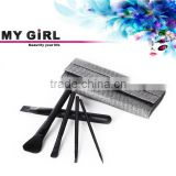 MY GIRL Hot sale make up wood handle high quality 5pcs cosmetic makeup brush synthetic black private label makeup brush set