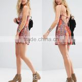 Adult age group sleeveless halter printed sexy tight backless ladies jumpsuit fashion new design