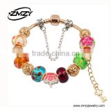 Fashion Jewelry Multicolor Murano Glass Bead Charm Bracelet Wholesale With Gold Snake Chain for Women
