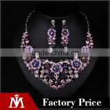 Brazilian Wedding silver Jewelry Set women Bridal Purple Crystal Floral Charm Necklace Earring