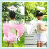 Multicolor Kids Halloween Angel Wing Fairy Magic Wand Headband Skirt Costume Set/Birthday Party Supply