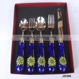 steel cutlery set with blue ceramic handle with knob at end in mirror polish finish