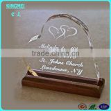 New heart-shape acrylic trophies with wooden base,printing acrylic trophy awards
