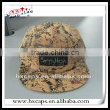 suede leather strap back 5 panel hat with woven label on front