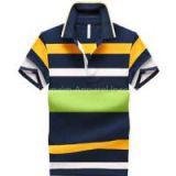 New 100% Cotton Women Short Sleeve Stripe Embroidery Polo-shirt