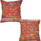 Bird Print Handmade Kantha Quilt Throw Cushion Covers