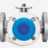 stainless steel CE certified 4-way flanged ball valve L/T port with ISI 5211 mounting pad