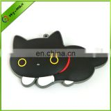 promotional eco-friendly silicon rubber lucky black cat keychain