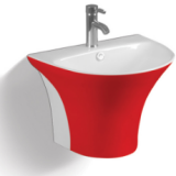 Bathroom Ceramic wall hung colored wash hand basin for sale