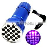 Night Pest Hunting Aluminum 21 LED UV 365nm Flashlight