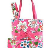 full printed pink tote bag with long handle for selling