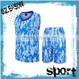 Basketball sportswear cheap custom wholesale men's blue sublimated camo basketball uniform