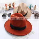 Wholesale as movie Fashion Lady red Wide Brim 100% Wool Felt Fedora Floppy bowknot orange fedora Hats