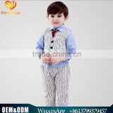 2016 Wholesale New arrival British gray Striped vest three-piece baby boy set plaid shirt with tie baby boy clothes suit
