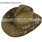 brown hand weave straw hats cowboy style