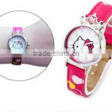Fashion hello kitty dial beautiful leather strap for kids quartz watch