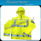Hi-vis rain jacket with reflective tapes