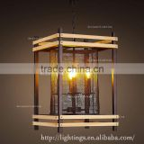 Modern cage candle chandelier,wood iron Pendant Light,vintage Lampframe wood decor chandeliers