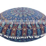 "Large Mandala Round Pillows 32"" Floor Meditation Cushion Cover Boho Throw Poufs Indian Art"