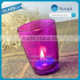 2014 hot sale christamas glass candle holder colorful wedding decorations votive frosted candle holder