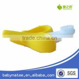 Babymatee import baby products factory price ecofriendly bendable training silicone rubber baby toothbrush