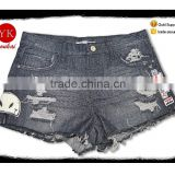 Women Denim Shorts Sexy Summer Hole Destroyed badges embroidered Shorts Jeans pants ladies