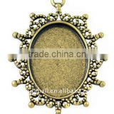 Zinc Alloy Cabochon Settings, Lead Free & Nickel Free, Oval, Antique Bronze, about 40x30x2mm, about 24x18mm, hole: 2mm(PALLOY-A1