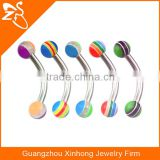 Acrylic flexible eyebrow lip bars ear tragus rings earrings curved curve barbell bar 3mm ball Jewellery
