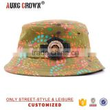 100% cotton material floral custom bucket hat