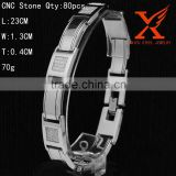 IN Stock Jewelry Factory China Fashion Men's Jewelry Genuine Bracelet Stainless Steel CNC Setting