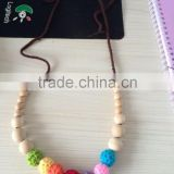 Best gift of Crochet bead with wood bead necklaces in new style