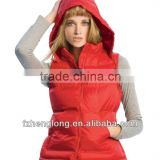 ladies padding hoody body warmer with hood/winter vest