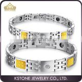 KSTONE 316L Stainless Steel bio energy magnetic crystal yellow carbon fiber bracelet for Couple