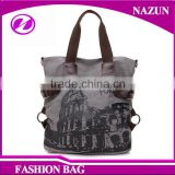2016 Artistic Graffiti canvas lady bag with minimalist vertical section printed pattern cotton for college girls