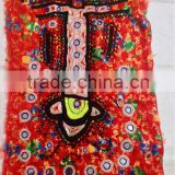 Amazing hand embroidery Vintage mirror work old dress Indian Banjara girl dress yoke textile